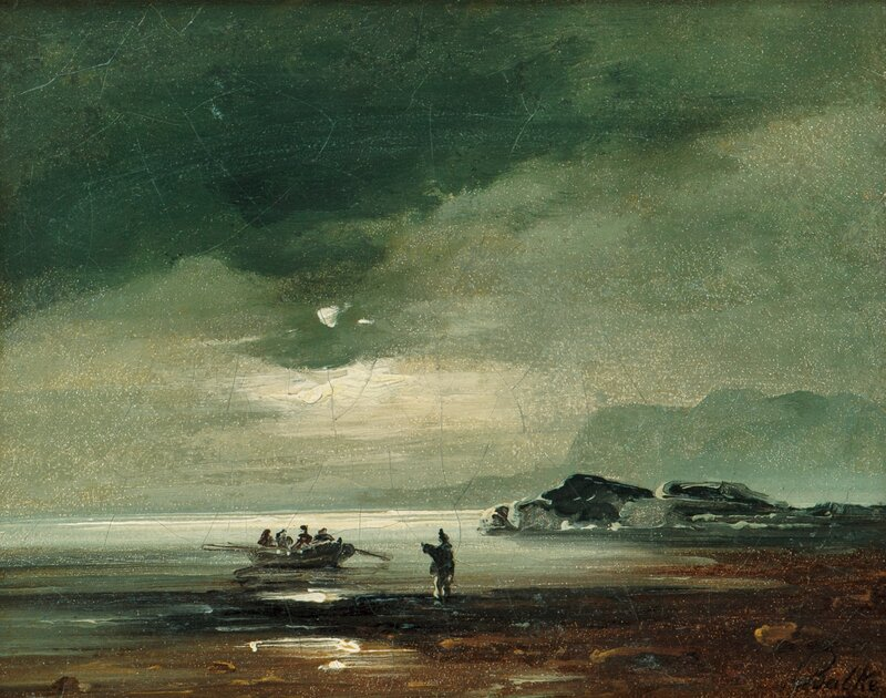 Coastal Landscape in Moonlight