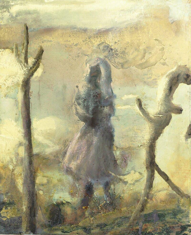 Figur i øde landskap