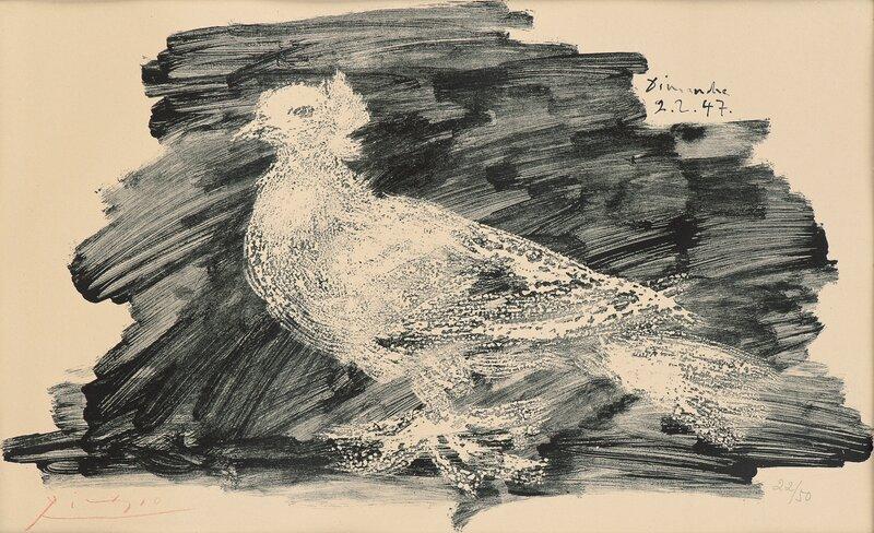Pigeon au fond gris 1947