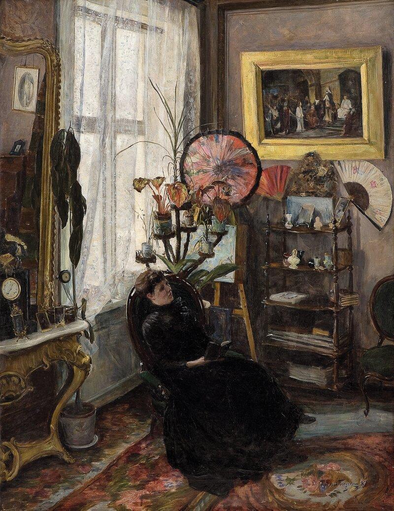 Interiør med sittende kvinne 1887