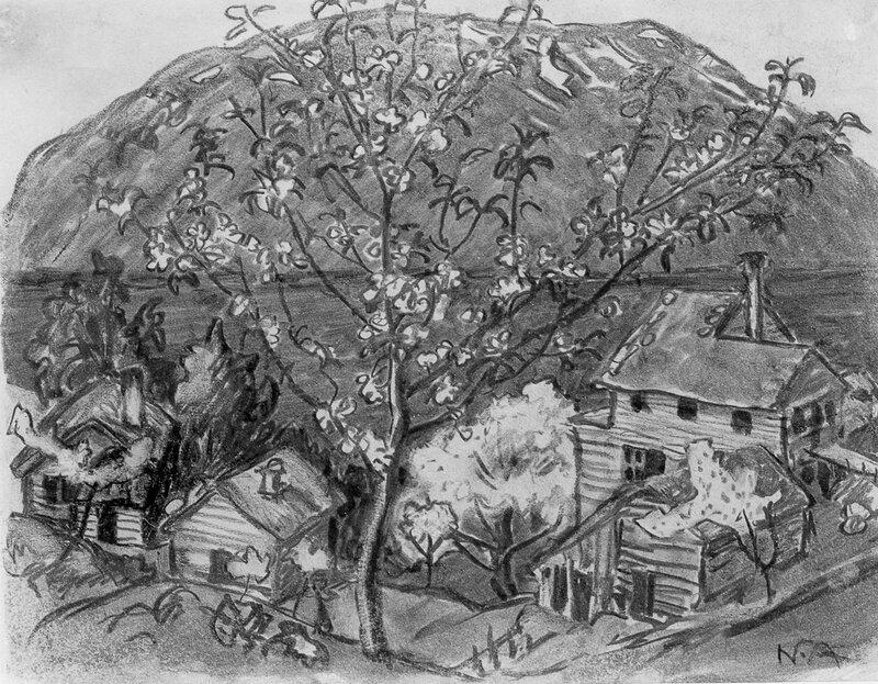 Astruptunet med blomstrende frukttrær