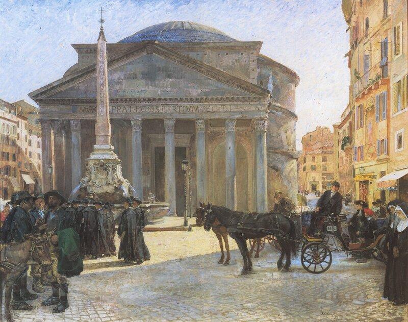 Fra Pantheon-plassen, Roma 1904
