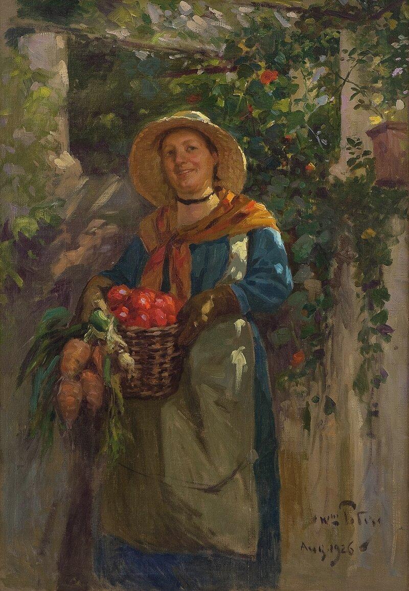 Kvinne med grønnsakskurv 1926