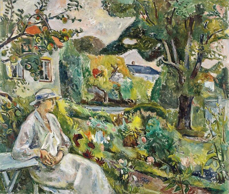 Arne Kavlis hustru i hagen på Rønnes 1933