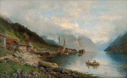 Fjordlandskap med folkeliv 1894