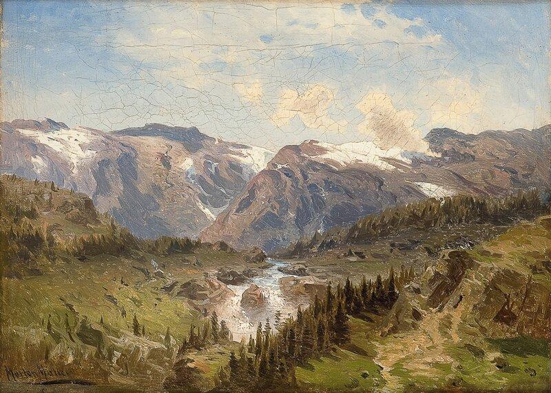 Norsk fjellandskap med elvestryk