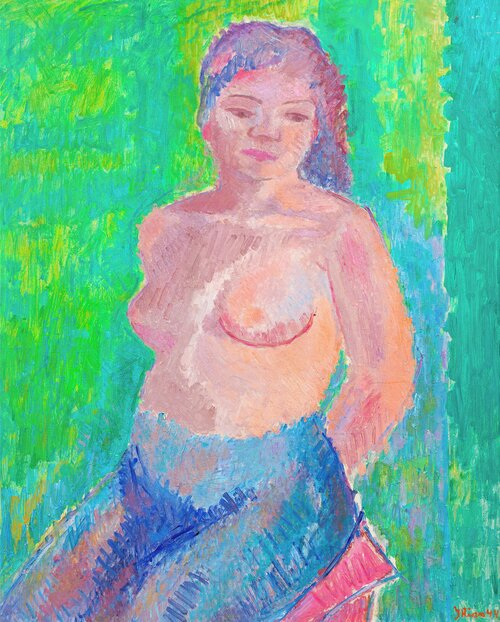 Semi Nude with Green Background