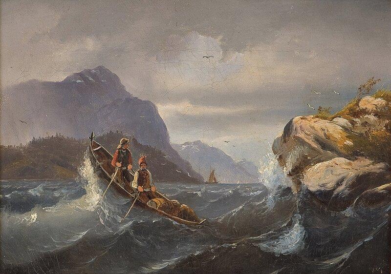 To roende menn i fjordlandskap