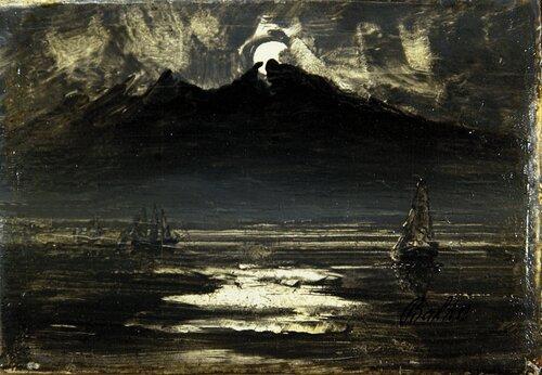Seilbåt i måneskinn