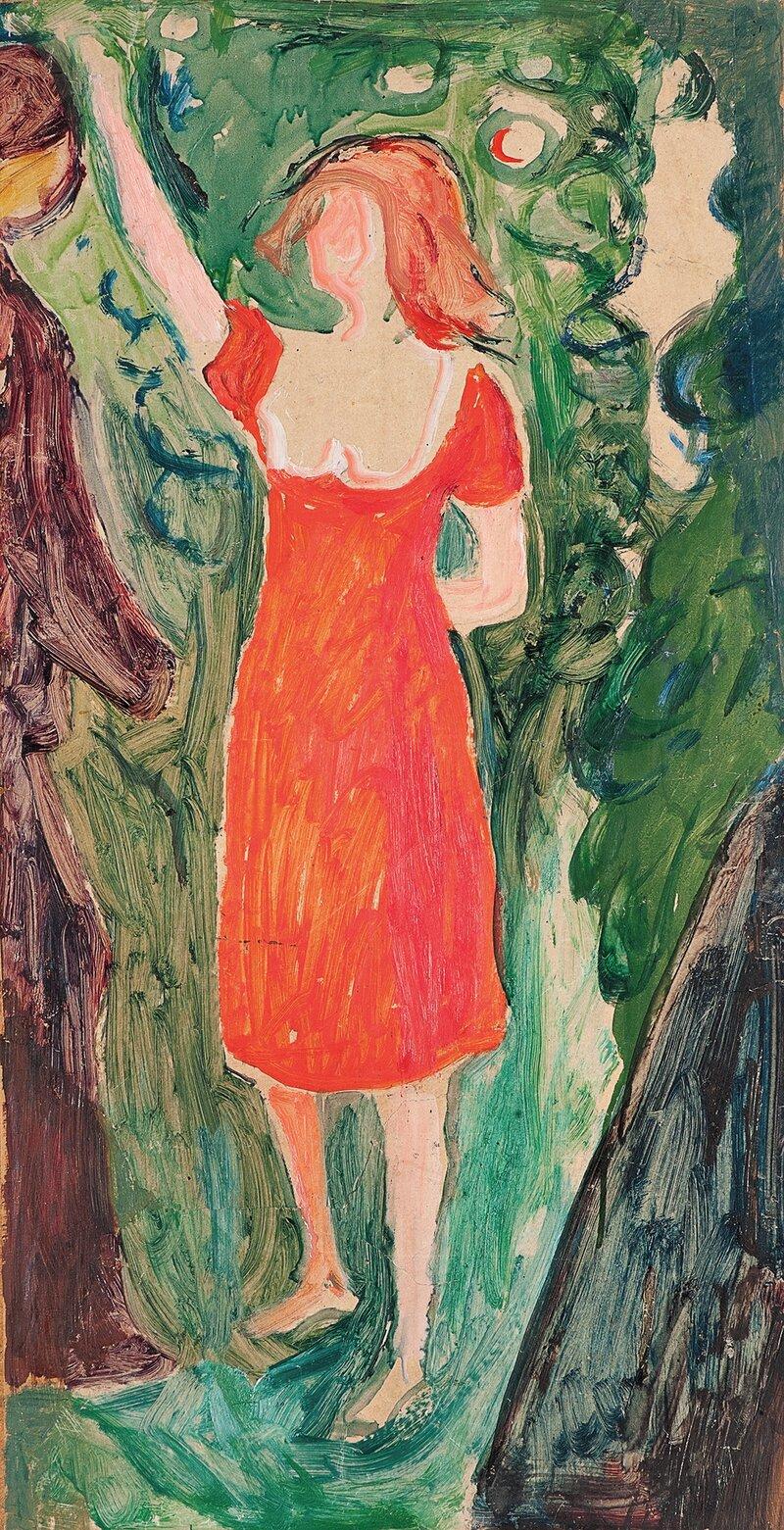 Kvinne i rød kjole