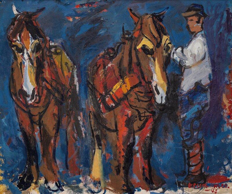 Mann og to hester 1943