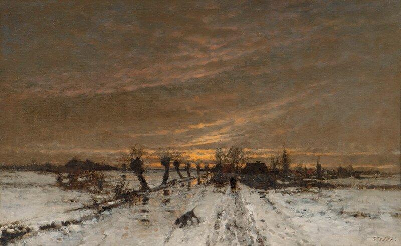Landskap i aftenbelysning, vinter