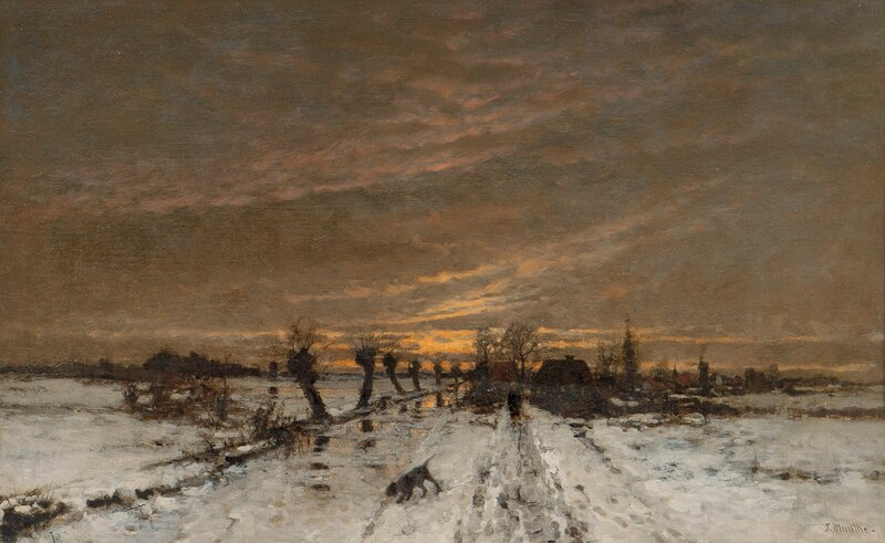 Landscape in evening light, Winter