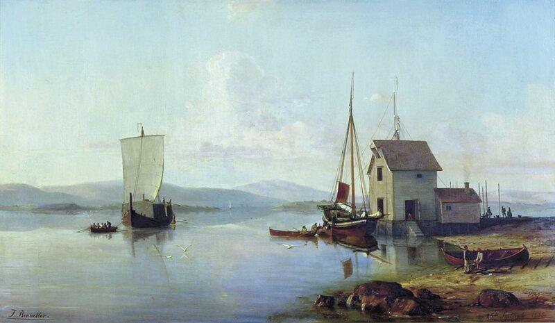 Havneparti med seilskuter og folkeliv 1855