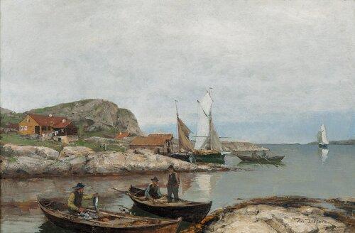 Fiskere i havn på Jæren 1885