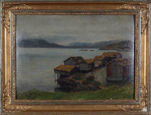 Kystlandskap med hus 1872