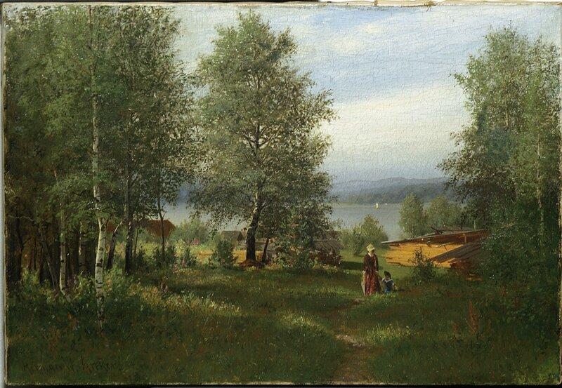 Kvinne og barn i bjerkeskog ved sjø 1884