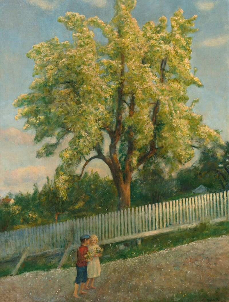 Two Children by a Fruit-Tree in full Bloom 1912