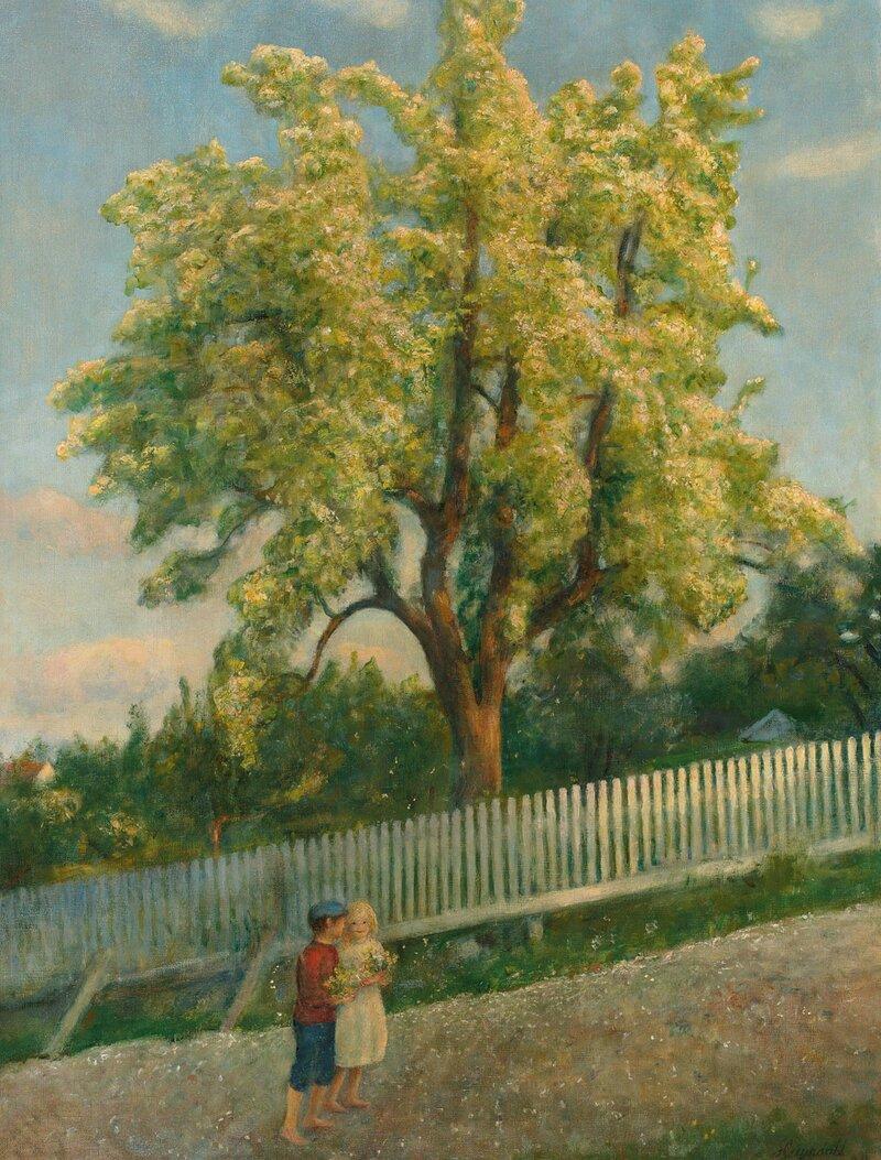 To barn ved frukttre i blomst 1912