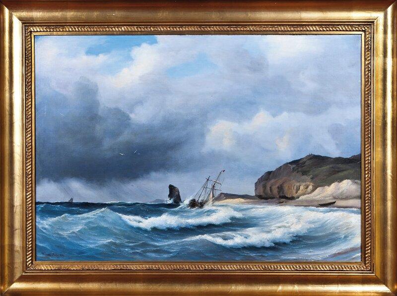 Skuter ved klippekyst 1848