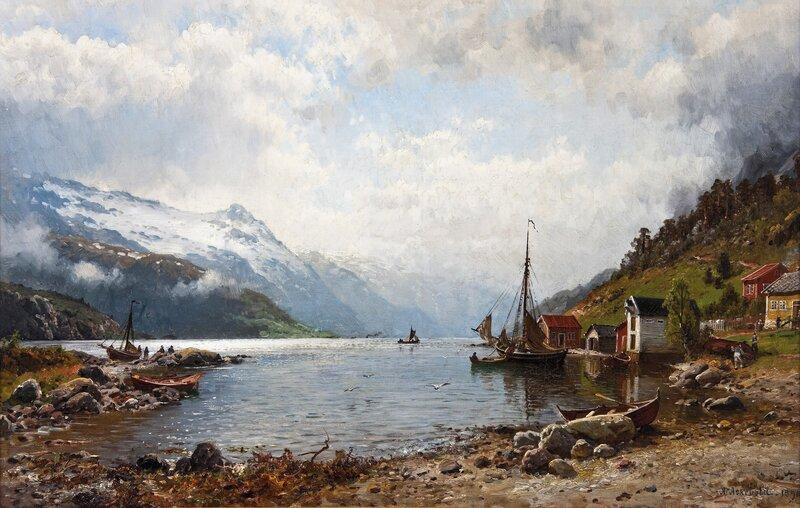 Solen bryter gjennom skyene, Hardangerfjorden 1890