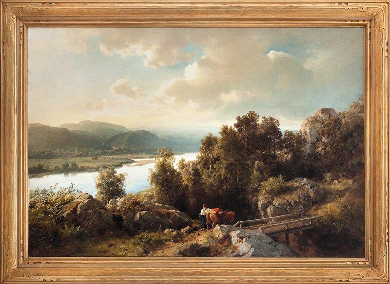 Kvinne med kløvhest i landskap 1861