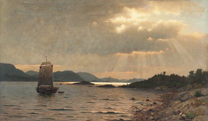Fjordlandskap med folkeliv 1874