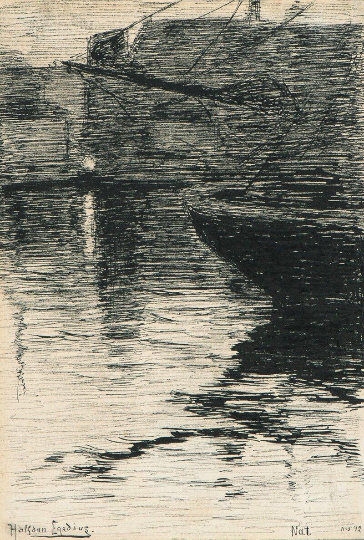 Natt på havnen 1892