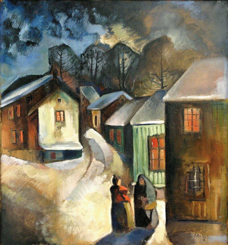 Landsbygate med to kvinner