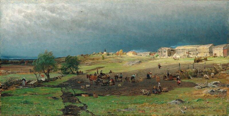 Potetopptaking ved Mjøsa 1877