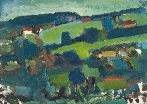 Landskap med hus 1957