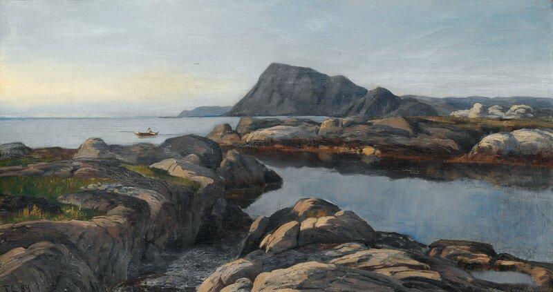 Kystlandskap med robåt 1884