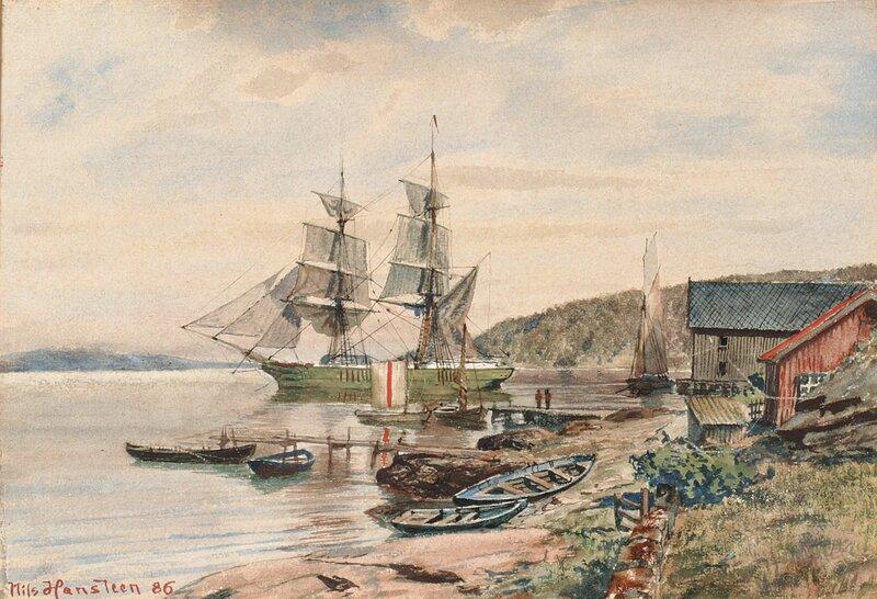 Seilskute i havn 1886