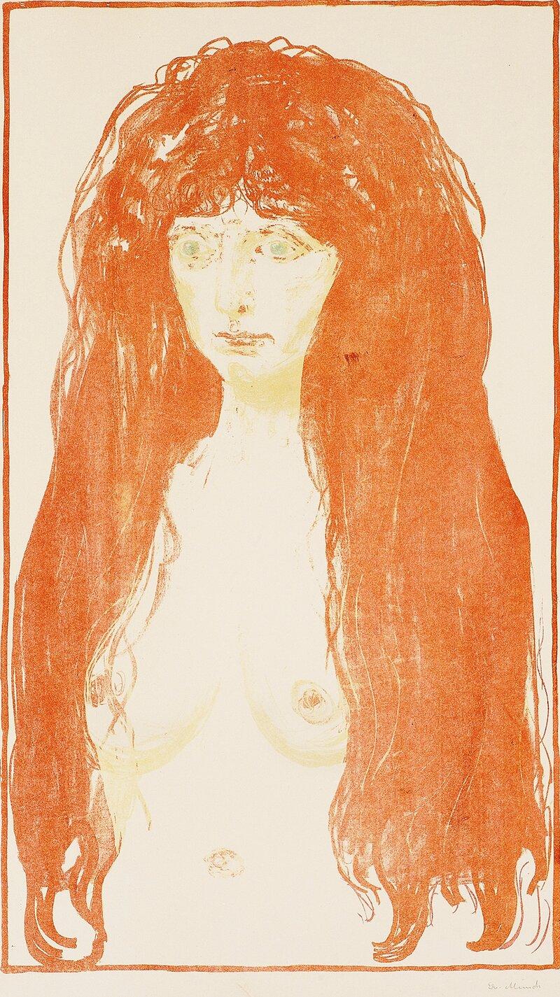 Kvinne med rødt hår og grønne øyne Synden