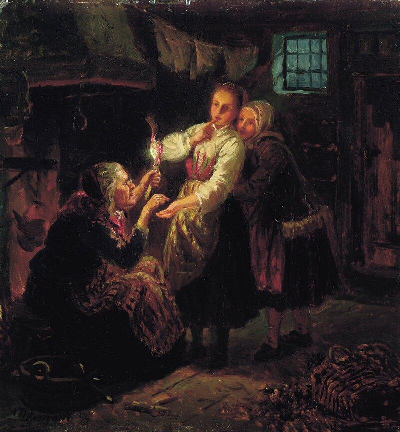 En spåkvinne spår to unge piker 1854