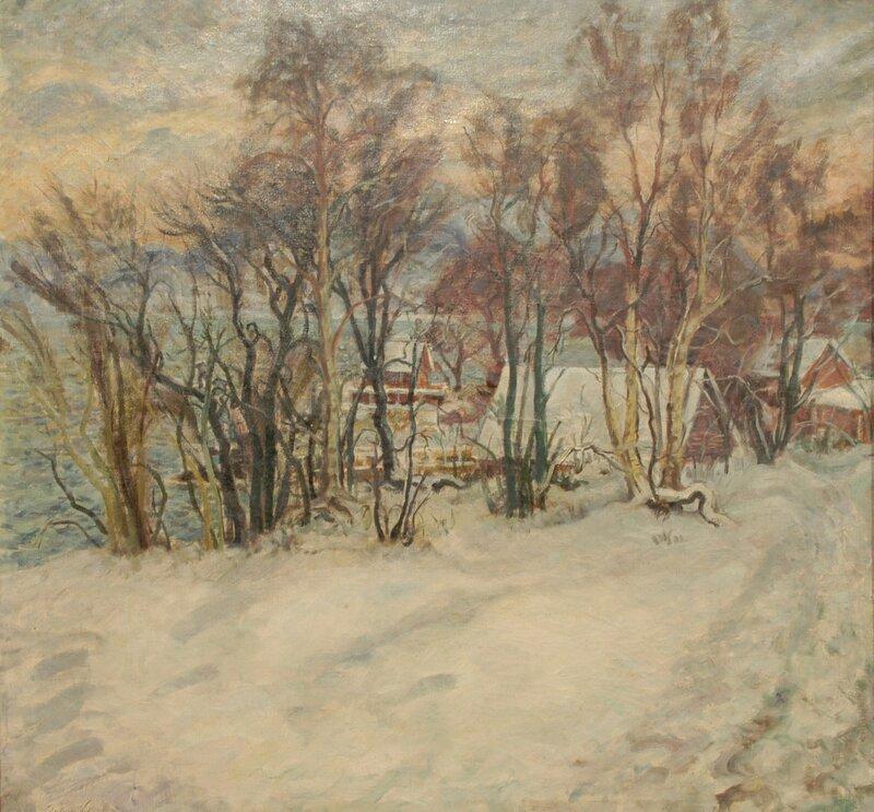 Hus i fjordlandskap, vinter