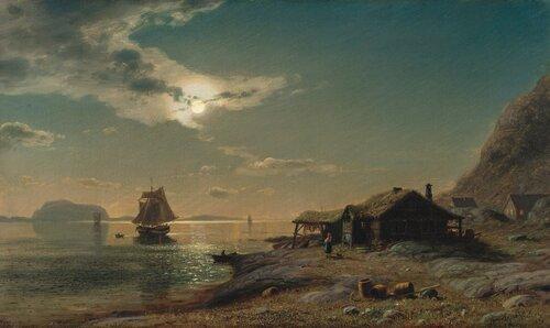 Kystlandskap ved fullmåne 1876