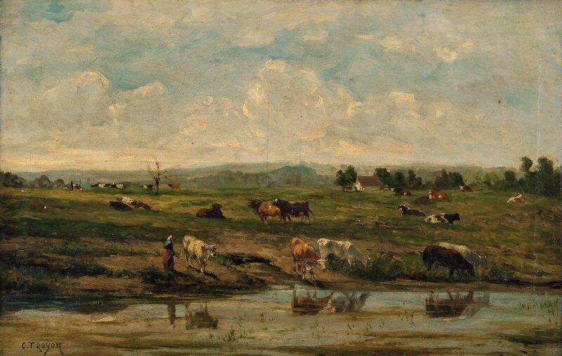 Elvelandskap med kyr