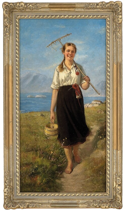 Girl with rake and wooden box