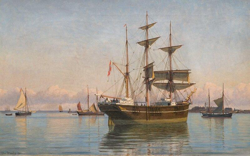 Norsk seilskute i havn 1917