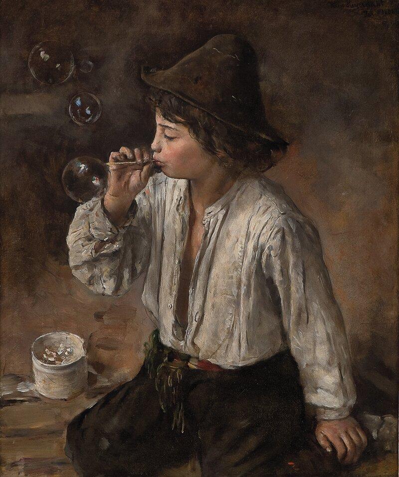 Gutt som blåser såpebobler 1882