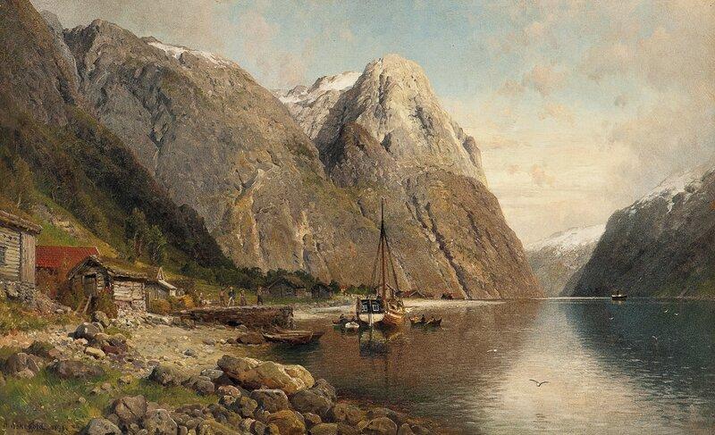 Fjordlandskap med folkeliv, dampbåten kommer 1891