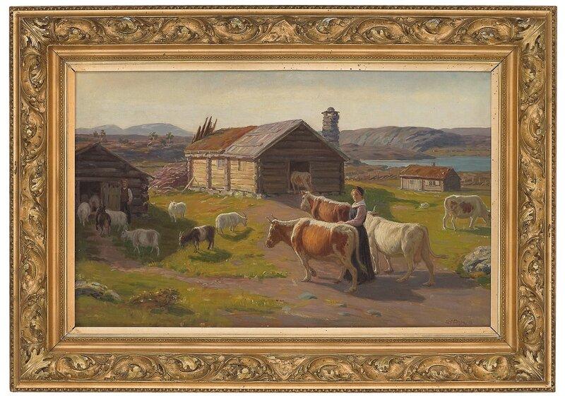 Budeie med kyr ved seter 1906