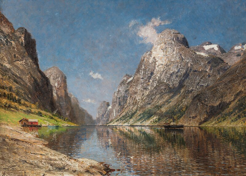 Fjord Landscape with Steam-Boat