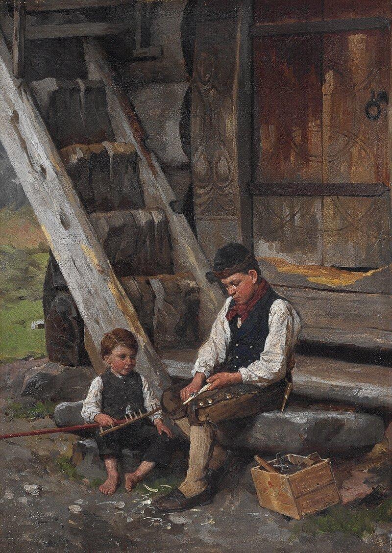 To sittende gutter 1885