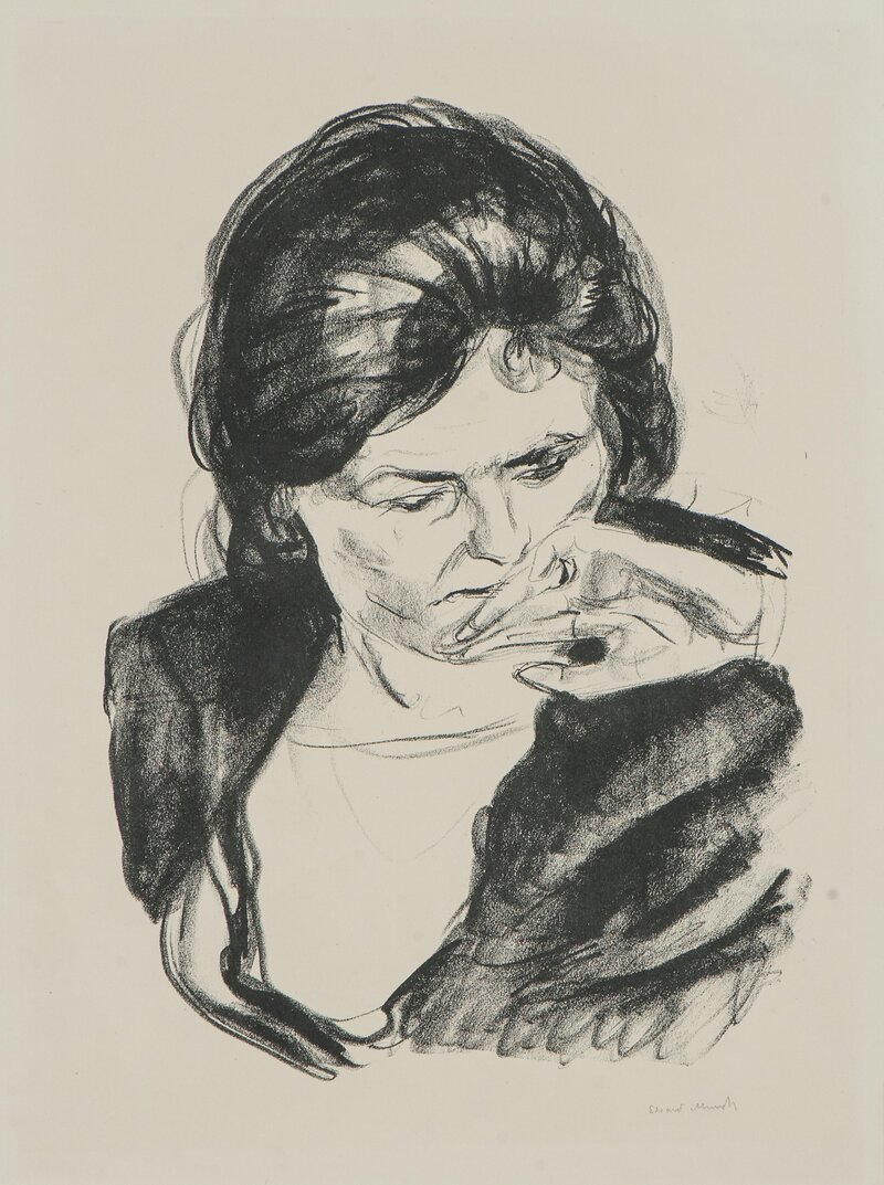 Woman with Her Hand by Her Mouth