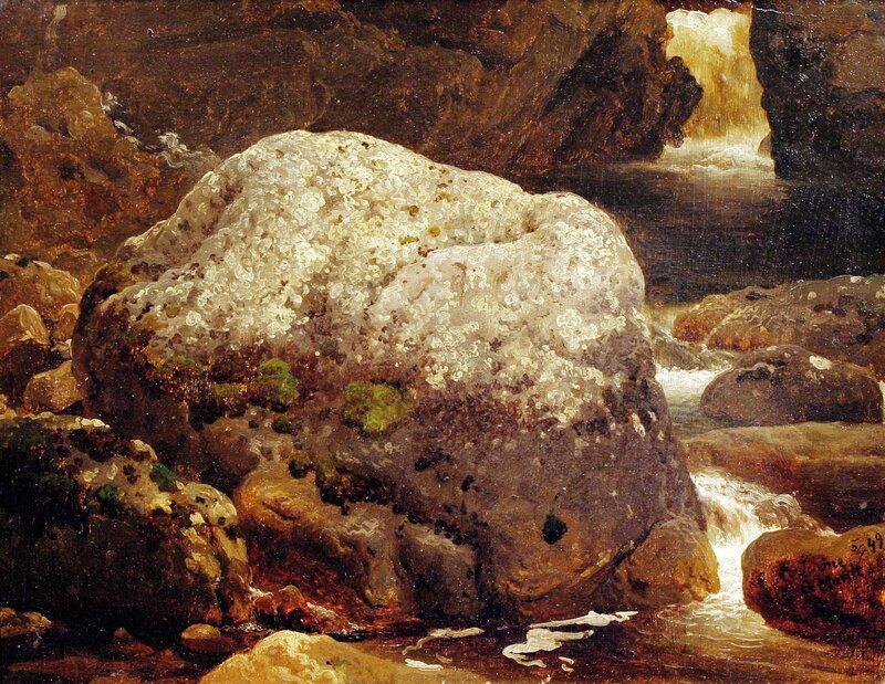 Elveparti med kampestein, studie 1849
