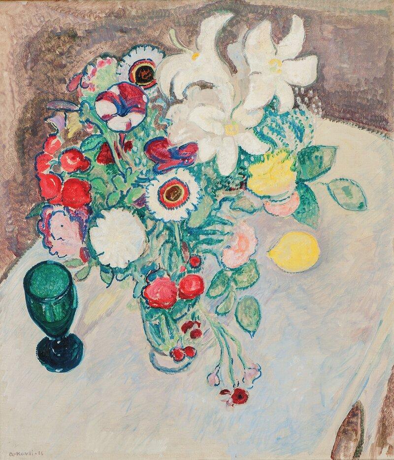 Oppstilling med blomster i vase 1916