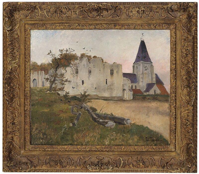 Borgruin og kirke i Picquigny nær Amiens
