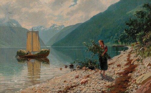 En solskinnsdag i Norge ved Balestrand i Sogn